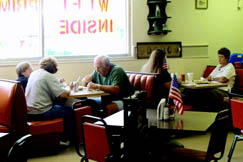 Antique Cafe's dining room is roomy and casual. The rest of the large building holds an antique mall with a variety of primitives, collectibles and antiques.