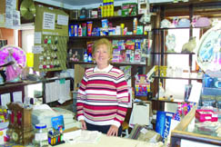Barbara Turner, owner of Barker's Grocery, greets visitors to the store personally.
