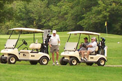 Friends are enjoying a day of golfing at Sandy Brae Golf Course.