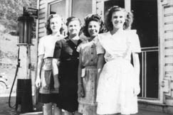 """Many people worked at the Coal Mining Company Store in Dille. Shown here are (left to right): Zelma Stickland, Electra Butcher, Janie DeMoss, and Hollene """"Tootsie"""" Morris."""