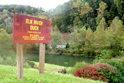 West Virginia Division of Natural Resources maintain a public access site including a boat launch ramp on the Elk River in Duck.