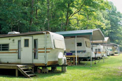 Members of the Carbide Recreation Camp park their camping trailers for easy use all summer.