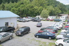 The lower level of Cunningham Motors (in the rear) provides residents with a selection of used cars
