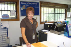 Looneyville Postmaster Carolyn Cremeans is friendly and helpful.
