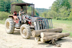 Dave Nichols works moving logs at Dave's Timber.