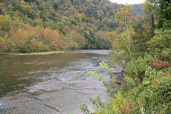 The Gauley River travels through Swiss on its way to Summersville Lake.